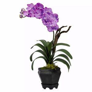 NWT, Faux Silk Purple Orchid in Black Hexagon Vase